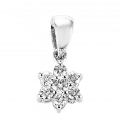 Bunga Tanjung Round Diamond Pendant in 750/18K White Gold 33202