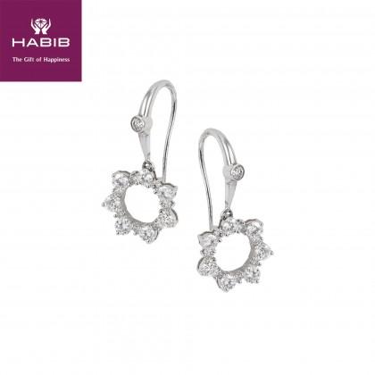 Daisy Diamond Earrings in 750/18K White Gold 45399