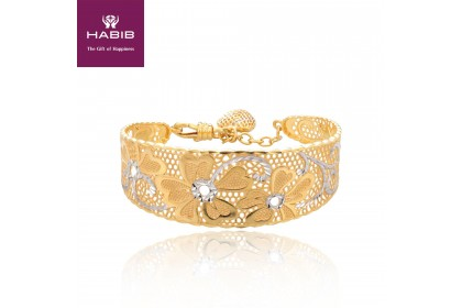 HABIB Blooming Dale White and Yellow Gold Bangle, 916 Gold (15.08G)