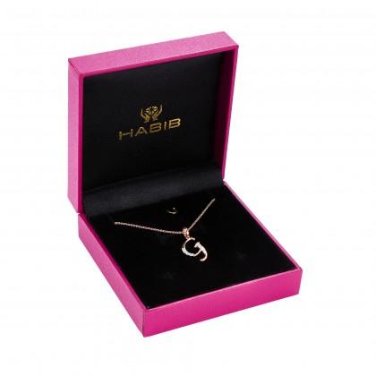 Corsiva-G Alphabet Diamond Necklace in 375/9K Rose Gold 55570(G)