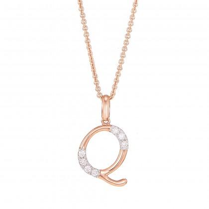 HABIB Corsiva-Q Alphabet Diamond Necklace in 375/9K Rose Gold 55570(Q)