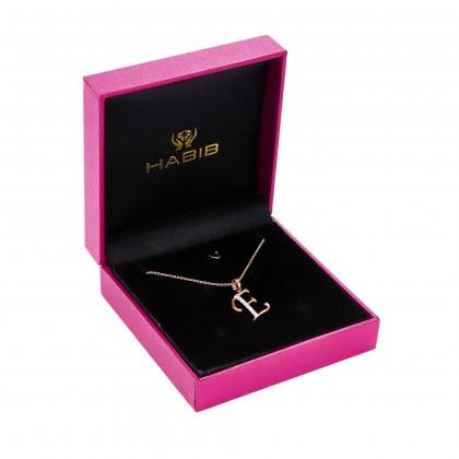 Corsiva-E Alphabet Diamond Necklace in 375/9K Rose Gold 55570(E)