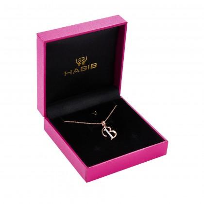 Corsiva-B Alphabet Diamond Necklace in 375/9K Rose Gold 55570(B)