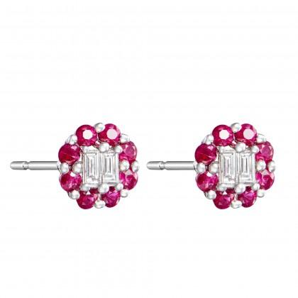 Augustus Ruby Diamond Earrings in 375/9K White Gold 25814(E)-RY