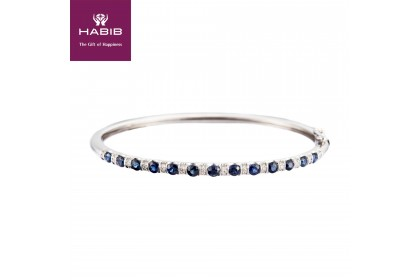 Blue Sapphire Diamond Bangle