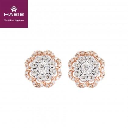 Alondra Diamond Earrings in 375/9K White and Rose Gold 25783(E)