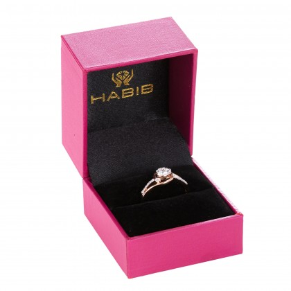 Bypass Shank Round Diamond Ring in 375/9K White and Rose Gold 25081