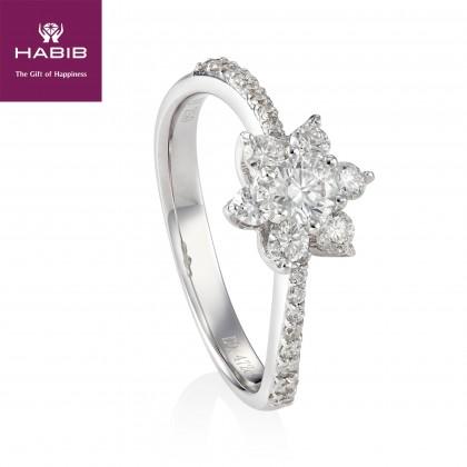 Bunga Tanjung Upendo Diamond Ring in 750/18K White gold 25071