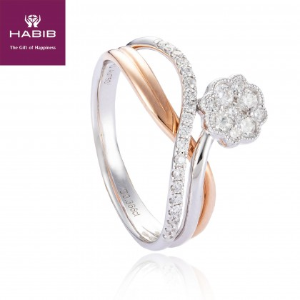 Cleobulina Diamond Ring in 750/18K White and Rose Gold 25045