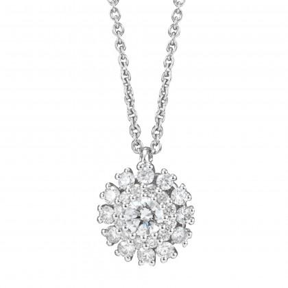 Round Diamond Necklace in 750/18K White Gold 24995(N)