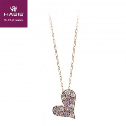 Tengiz Pink Sapphire Diamond Necklace in 750/18K Rose Gold 55490
