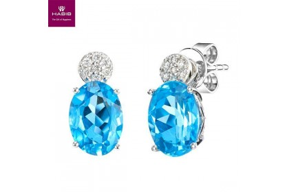 HABIB Azure Blue Topaz Diamond Earrings