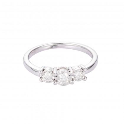 Trilogy Diamond Ring in 375/9K White Gold 24629