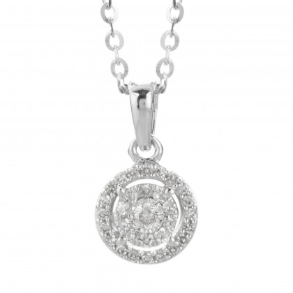 Boude White Gold Diamond Necklace in 375/9K White Gold 25044(N)
