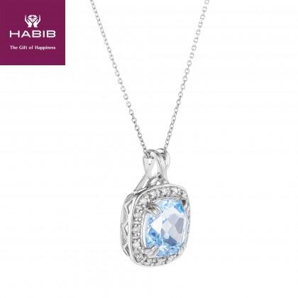 Blue Topaz Cushion Diamond Necklace in 375/9K White Gold 24631(N)