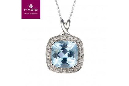 Blue Topaz Cushion Diamond Necklace