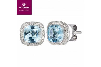 Blue Topaz Cushion Diamond Earrings