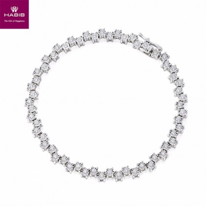 Bush Poppy Diamond Tennis Bracelet in 375/9K White Gold 67794