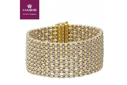 HABIB Oro Italia Rosalie Yellow and Whie Gold Bangle, 916 Gold (55.20G)