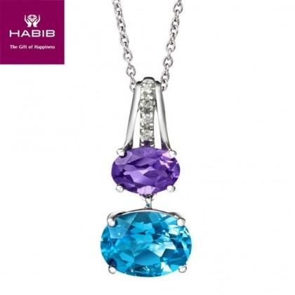 Purple Emperor Diamond Necklace in 375/9K White Gold 24808(N)