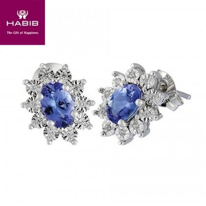Blue Sapphire Candy Diamond Earrings in 379/9K White Gold 24446(E)