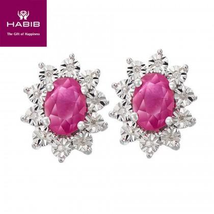 Eglantina Diamond Earrings in 375/9K White Gold 24446(E)-RY