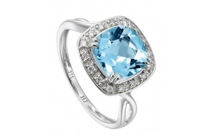 Cushion Halo Blue Topaz and Diamond Infinity Ring