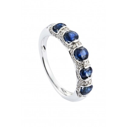 Tension Set Blue Sapphire and Diamond Ring in 375/9K White Gold 25112