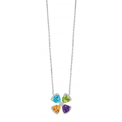 Trillion Cut Multi-coloured Gemstones and Diamond Clover Necklace in 375/9K White Gold