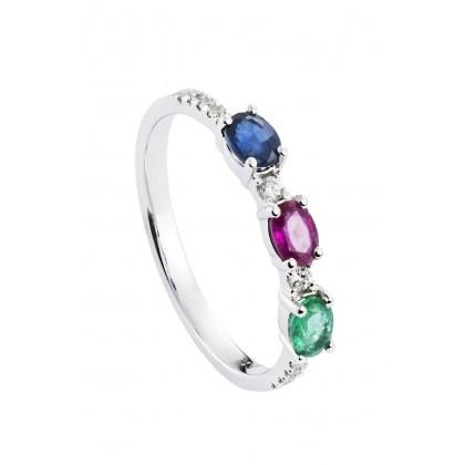 Three Gemstone Diamond Ring in 750/18K White Gold 25765
