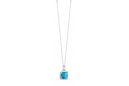 Bezel Blue Topaz and Diamond Necklace in 375/9K White Gold