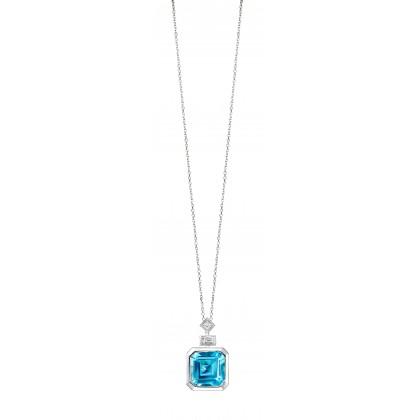 Bezel Blue Topaz and Diamond Necklace in 375/9K White Gold