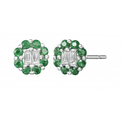 Emerald Halo and Diamond Stud Earrings in 375/9K White Gold