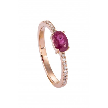 Oval Cut Ruby and Diamond Pavé Reverse Tapered Ring in 750/18K Rose Gold 25758