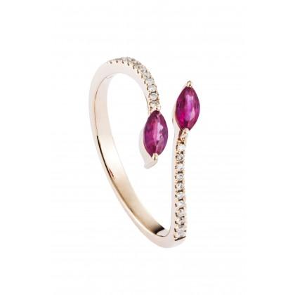 Biyu Ruby Diamond Ring in 750/18K Rose Gold 25759