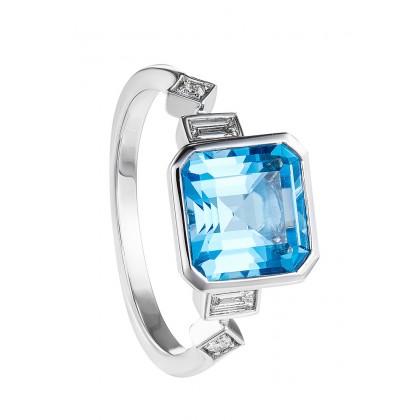 Bezel Blue Topaz and Diamond Ring in 375/9K White Gold 25769(R)