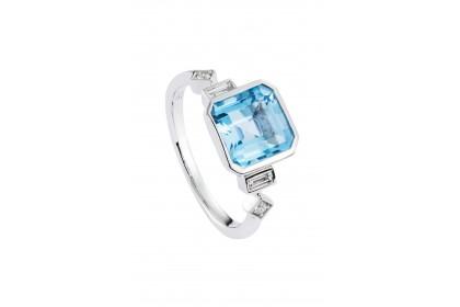 Bezel Blue Topaz and Diamond Ring in 375/9K White Gold
