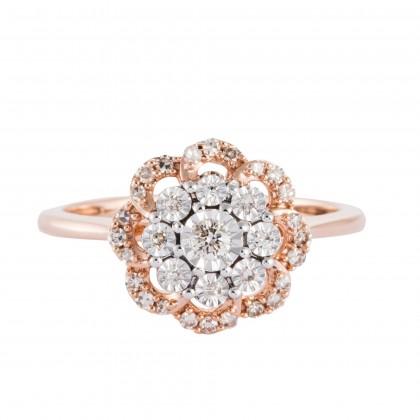 Alondra Diamond Ring in 375/9K  Rose Gold & White Gold 25783(R)