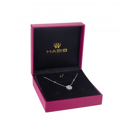 Buah Kana Round and Baguette Diamond Necklace in 375/9K White Gold 25812(N)