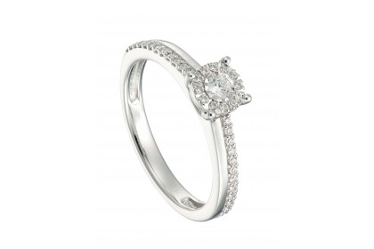 Halo Illusion White Gold Diamond Ring
