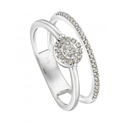 Dual Band Halo Diamond Ring in 375/9K White Gold 25698