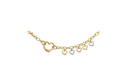 Oro Italia 916 Amore White, Yellow and Rose Gold Bracelet (11.26G) GW36460720-TI