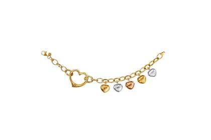 Oro Italia 916 Amore White, Yellow and Rose Gold Bracelet (12.46G) GW36450720-TI