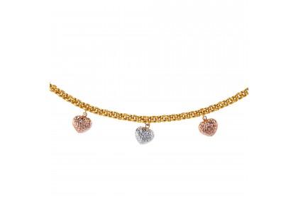 Oro Italia 916 Amore White, Yellow and Rose Gold Bracelet (13.94G) GW3398-TI