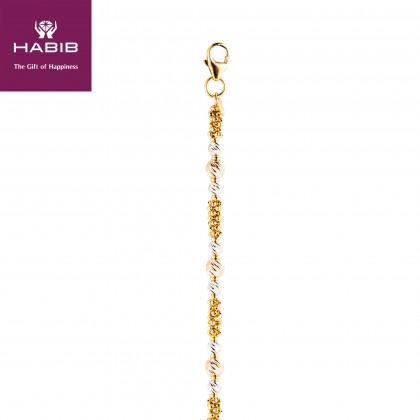 Oro Italia 916 Stella White, Yellow and Rose Gold Bracelet (6.23G) GW3240-TI