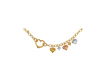 Oro Italia 916 Amore White, Yellow and Rose Gold Bracelet (13.0G) GW36440720-TI