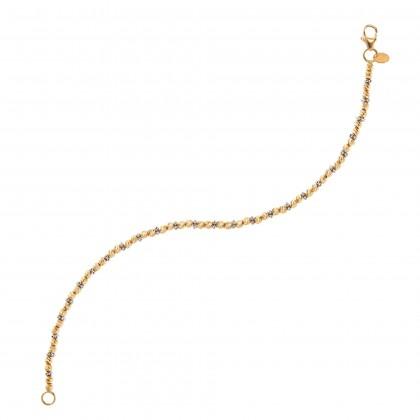 Oro Italia 916 Piccolo White and Yellow Gold Bracelet (4.89G) GW3241-BI