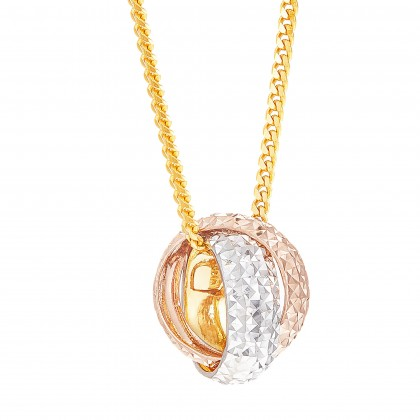 Twinsie Loop Yellow White Rose Gold Pendant, 916 Gold (2.23G) P4385(S)