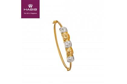 Marsilia Roti Bun White and Yellow Gold Bangle (12.25G) BK15690920