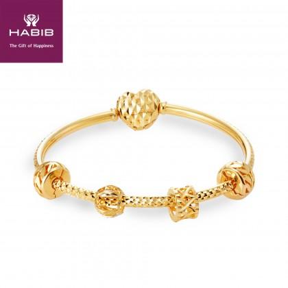 Biten Gold Bangle, 916 Gold (14.17G) PDR126(LOVE)(C)